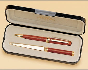 Wooden pen and letter opener set - Rosewood - Personalized Gift - Recognition award