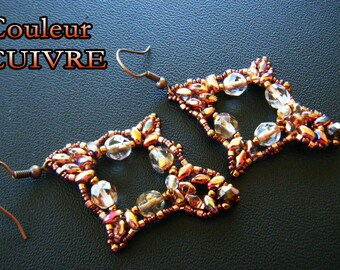 Earrings woven copper Crystal beads