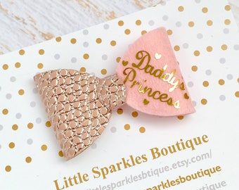 Fathers day idea,Pink hair bow, rose gold hair bow, personlaised bow, baby/girls hair bow