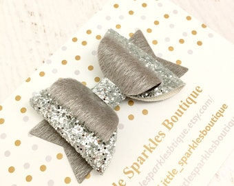 Silver glitter bow, silver bow, baby bow, girls hair bow, girls hair accessories, Christmas bow