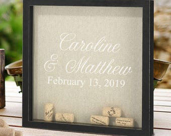 Personalized Frame for Signing Corks - Corks Included - Alternative Signature Guestbook