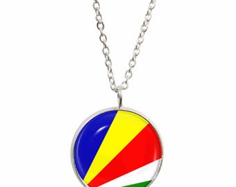 Seychelles Flag Pendant and Silver Plated Necklace