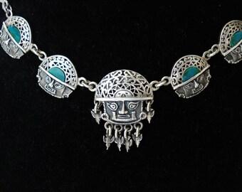 Sterling Necklace Peru, Chrysocolla 925 Silver. Pre-Columbian Lambayeque Sicán Chimu Mask Birds Tumi Tiahuanaco Archaeology. Symbol. Gem.