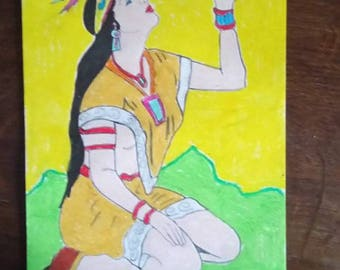 Indian pastel pencil drawing has oil