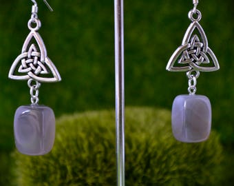 Triquetra and agate earrings crystal gemstone pagan wiccan boho hippie metaphysical new age spiritual celtic magic jewellery gift ideas