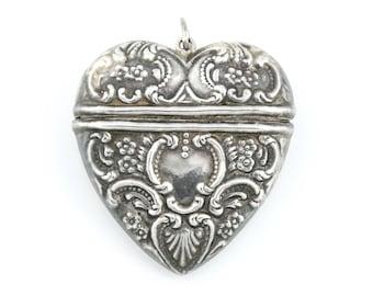 Large Antique Silver Repousse Heart Pendant c.1850