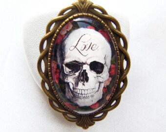 "Oval adjustable ornate ""skull ring"""