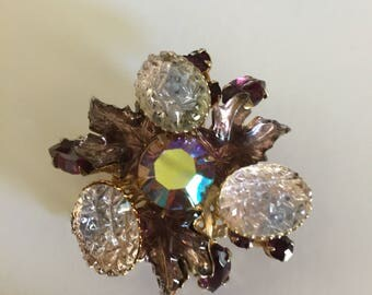 Vintage AB Brooch, Vintage Brooch with Large Frosted Stones