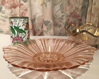 Pink Depression Glass Serving Plate