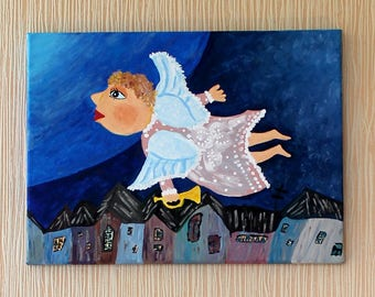 "Painted canvas ""Angel"""