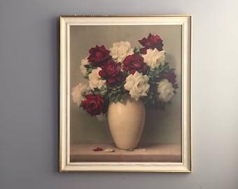 1950s framed rose print