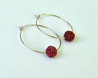 Essential Oil Jewelry - Hoop Earrings - Rose Lava Stone - Lava Rock Earrings - Lava Rock Hoops - Aromatherapy - Healing Jewelry - Yoga