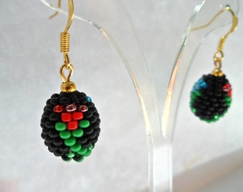 Small earrings,Beaded earrings,Beaded jewelry,Black earring,Flower earrings,Ball Earrings,Gift for her,Ukraine,Ukrainian embroidery