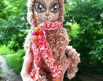 Cat doll, Flavored toy, Coffee toy, Toy cat, soft toy, cat in suit, collectible cat, gift for the new year, handmade doll, primitive doll