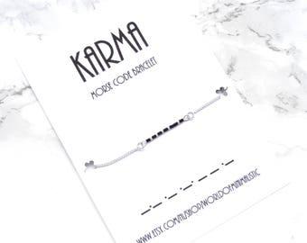 KARMA morse code bracelet minimalist morse code jewelry yoga jewelry simple modern gold chain bracelet minimalist bracelet dainty delicate