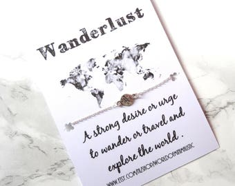 Wanderlust bracelet, compass bracelet, BFF gift , wish bracelet, dainty minimalist bracelet, delicate bracelet,friendship bracelet