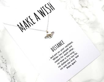 Dainty make a wish planet necklace, distance minimalist necklace, simple wish best friends gift necklace, wanderlust necklace, travel gift