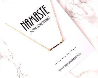 NAMASTE morse code necklace, yoga necklace, yoga jewelry, spiritual bar necklace, fine personalized necklace, Buddhism jewelry, morse code