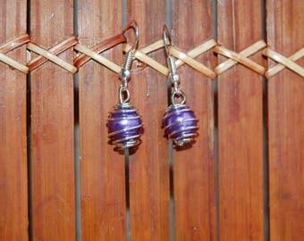 Purple birdcage, pearly beads earrings