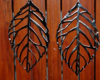 Earrings original leaves silver