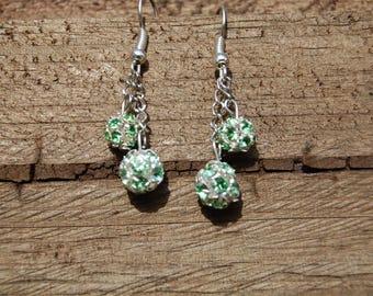 Green rhinestone Stud Earrings