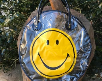 "Vintage Smiley Face Clear Vinyl Tote Bag 1980's Original ""Have A Nice Day"" Beach Shopping  Bag"