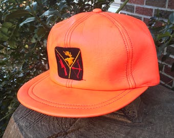 Vintage Blaze Orange Hunting Hat - Vinyl with Ear Covers Deer Rifle and Bow Graphics