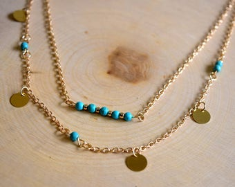 Gold Layered Necklace // Turquoise Layering Necklaces // Bohemian Jewelry // Boho Jewelry // Gold Charm Necklace // Turquoise Beads