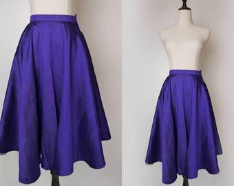 Purple Violet Women Vintage High Waist Silk Circle Skirt Style 1980s Size XS - S