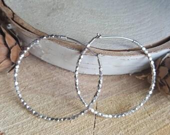 Beaded Silver Hoops, Medium-sized Hoops, Silver Nugget Earrings, Sterling Silver Earrings, Silver Hoops