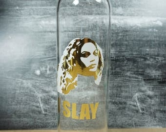 Beyonce Glass Water Bottle | slay | gold
