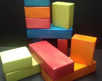 12 wooden blocks
