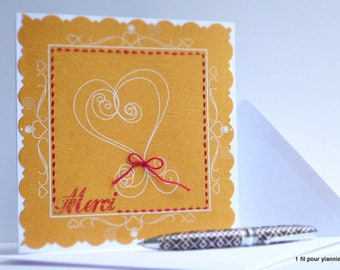 Embroidered heart card - thank you card-handmade hand-card-thank you card 1filpourylannie...
