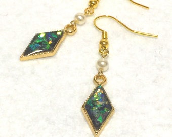"Earrings ""black opal style"""