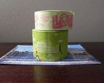 2 Washi tape 5 m light green: LOVE + landscape