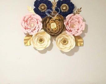 7 Piece Paper Flowers Set / Home Decor / Paper Flowers / Choose your colors