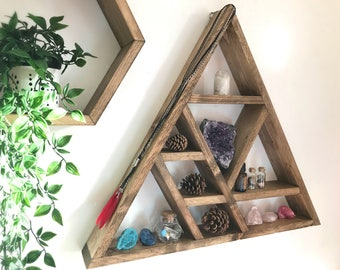 XL Altar, Triangle altar, Altar shelf, floating altar, wooden altar, crystal shelf, crystal display shelf, Lovelifewood, triangle shelf,