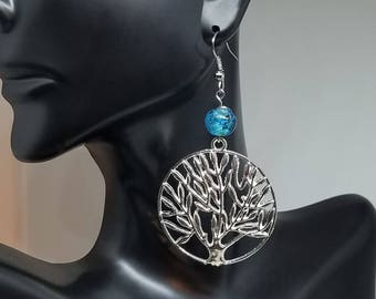 Tree of Life Earrings, Tree of Life, Dangle Earrings, Blue Tree of Life, Something Blue, Blue Earrings, Silver, Gifts for Mom, Gifts for Her