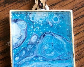 "Silver Pendant - 1"" Square - Resin Coated - Acrylic Paint (SS-001)"