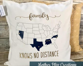 personalized family knows no distance multiple states heart throw pillow wedding gift united