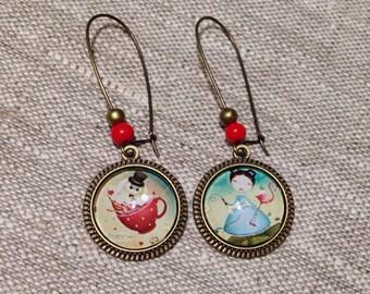 Earrings cabochon earrings - lever - Neverland - beads