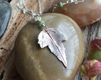 Pretty necklace / gift for her/ woman's necklace /fine silver/ woodland jewelry /leaf pendant / sterling silver necklace/woman's gift
