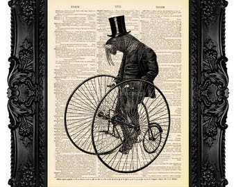 Art Print, Anthropomorphic Art WALRUS CYCLIST, Dictonary Print, Dictionary Art Print on Vintage Upcycled Book Page, Wall Art 331