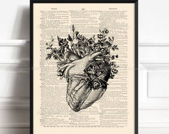 Anatomy Heart, Human Heart Poster, Gift For Gay Couple, Kitchen Staircase, Valentines Day, Grandmother Art Gift, Gift for Her 40th 055