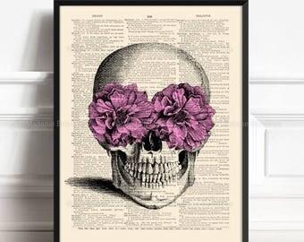 Skull Flowers, Unique Gift For Man, Human Skull, Skull Poster Gift, Funny Home Art Print, Cool Mom Gift, Anatomy Print, Apartment Decor 433