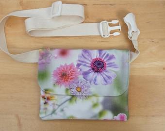 Floral Belt Bag, Hip Purse, Bum Bag, Waist Bag, Money Belt, Flat Fanny Pack or Travel Wallet with long adjustable belt
