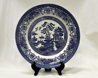 "Vintage EIT English Ironstone Tableware 10 3/8"" Plate Made in England Blue Willow Pattern 1970 Collectible Desireable 5 Available"