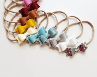 WINTER RAINBOW  Mini Bow Baby nylon headbands set 12