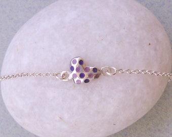 HEART BRACELET, heart silver bracelet, sterling silver, gift for her, tiny heart bracelet, minimal bracelet, silver enamel heart, handmade