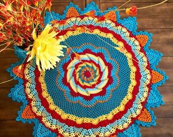 Flower Pinwheel Lace Doily - Multicolored Crochet Doily - Prim Decor - Pineapple Doily - Handmade Doilies - Rustic Decor - Farmhouse Table